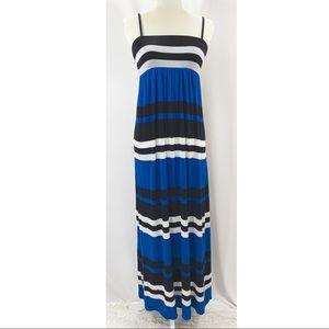 Blue, black, white striped INC maxi dress